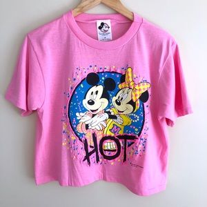 Disney Vintage Mickey And Minnie Crop Graphic Tee